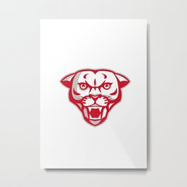 Angry Cougar Mountain Lion Head Retro Metal Print