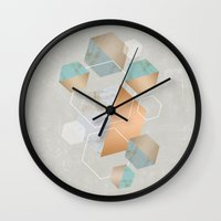 concrete Wall Clocks featuring Honeycomb Concrete by cafelab