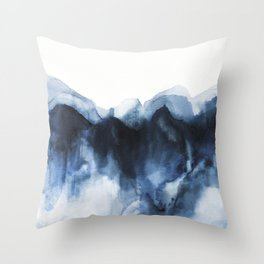Abstract Indigo Mountains 2 Throw Pillow