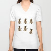 bees V-neck T-shirts featuring Bees  by Cécile Pellerin