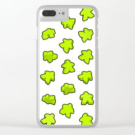 Meeple Mania Lime Pattern Clear iPhone Case