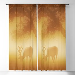 Elk in Early Morning Mist Blackout Curtain