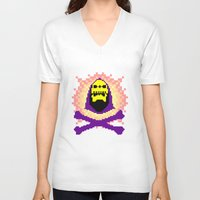 skeletor V-neck T-shirts featuring Skeletor Pixeletor by Yildiray Atas