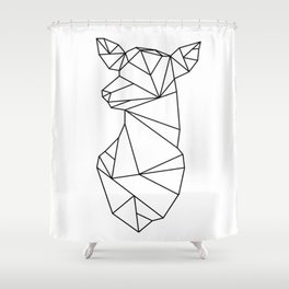 Geometric Doe (Black on White) Shower Curtain