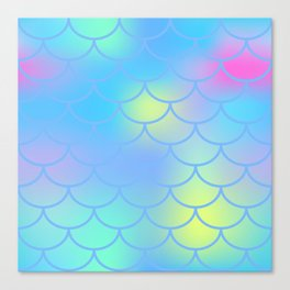Turquoise Mermaid Pattern Canvas Print