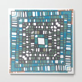 Squared layers in orange and blue Metal Print