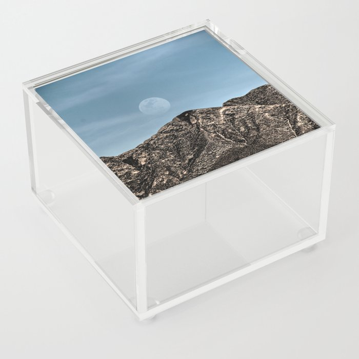 Moon over the Franklin Mountains Acrylic Box