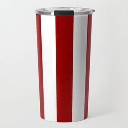Crimson red - solid color - white vertical lines pattern Travel Mug