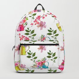 Spring hand painted colorful water can floral watercolor Backpack