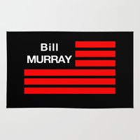 bill murray Area & Throw Rugs featuring Bill Murray Flag by Spyck