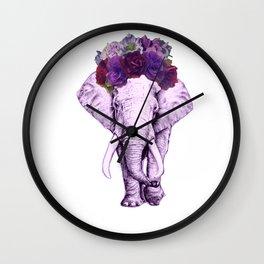 flower crowned elaphant Wall Clock