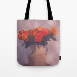 Milk jar and roses Tote Bag