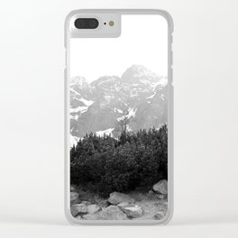 Tatry in Black and White Clear iPhone Case