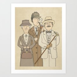 The Detectives - Marple, Poirot and Sherlock Art Print