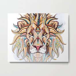 Brown Ethnic Lion Metal Print