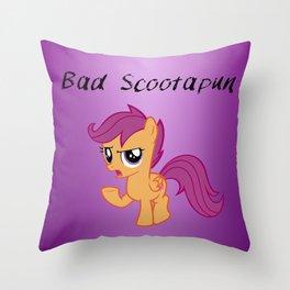 Bad Scootapun Throw Pillow