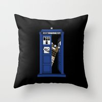 dalek Throw Pillows featuring Dr. Dalek by awowensart