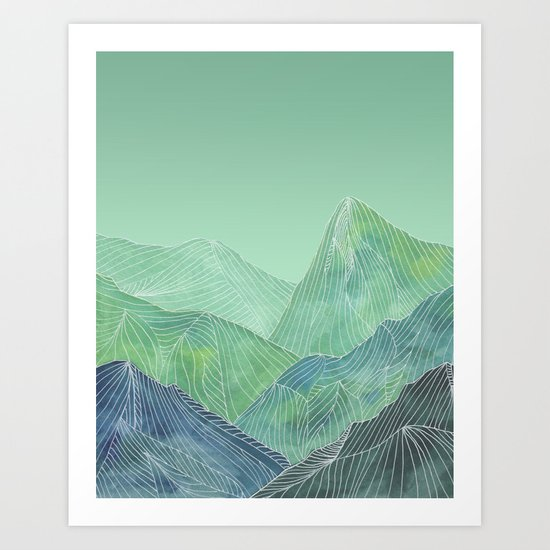 Lines in the mountains - green Art Print
