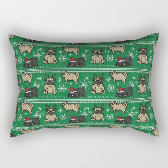 CHRISTMAS PUG Rectangular Pillow