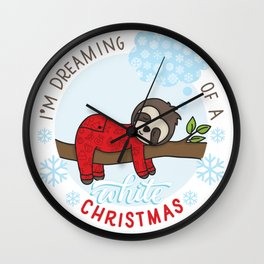 Sloth dreaming of a White Christmas Wall Clock