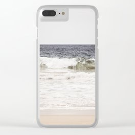 Neutral Ocean Landscape Photography, Grey Seascape Art, Gray Sea Beach Photo, Coastal Print Clear iPhone Case