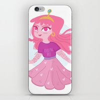 princess bubblegum iPhone & iPod Skins featuring Bubblegum by Pilotinta