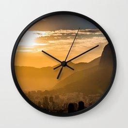 Rio De Janerio Skyline Sundown Wall Clock