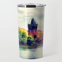 Prague panorama watercolor Travel Mug