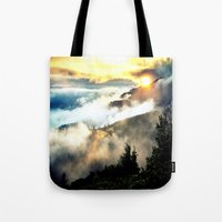 mountains Tote Bags featuring Sunrise mountains by 2sweet4words Designs