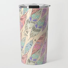 The feathers are multicolored on a beige background . Travel Mug