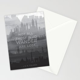 """Not all those who wander are lost"" -- J. R. R. Tolkien quote poster Stationery Cards"