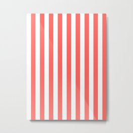 Narrow Vertical Stripes - White and Pastel Red Metal Print