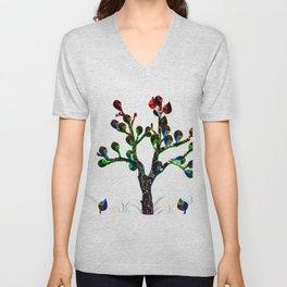 Bare Leafy Rainbow Tree Unisex V-Neck