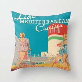 Retro Cruise Ship Deck Throw Pillow
