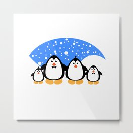 NGWINI - penguin family snow Metal Print