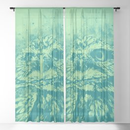 owl portrait 5 wstk Sheer Curtain