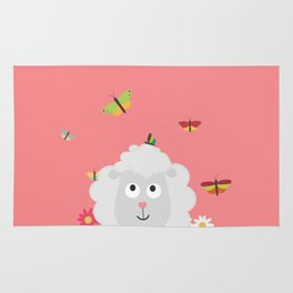 Sheep with flowers and butterflies B1mk7 Rug