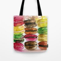 macarons Tote Bags featuring macarons by Olga Gridneva