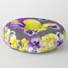 YELLOW IRIS PURPLE & WHITE PANSY GARDEN ART Floor Pillow