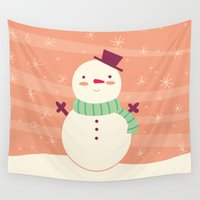snowman Wall Tapestries featuring Snowman by Claire Lordon