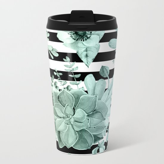 Simply Succulent Garden Striped in Turquoise Green Blue Gradient Metal Travel Mug