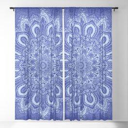 Blue Boho Mandala Flower Sheer Curtain
