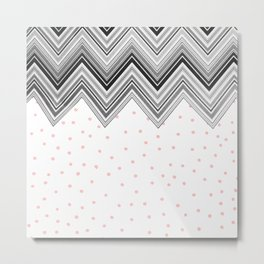 Geometrical black blush pink polka dots chevron Metal Print