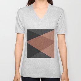 Black , brown ,abstract , geometric Unisex V-Neck