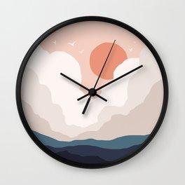 Abstraction_SUN_CLOUD_MOUNTAINS_ART_Minimalism_001A Wall Clock