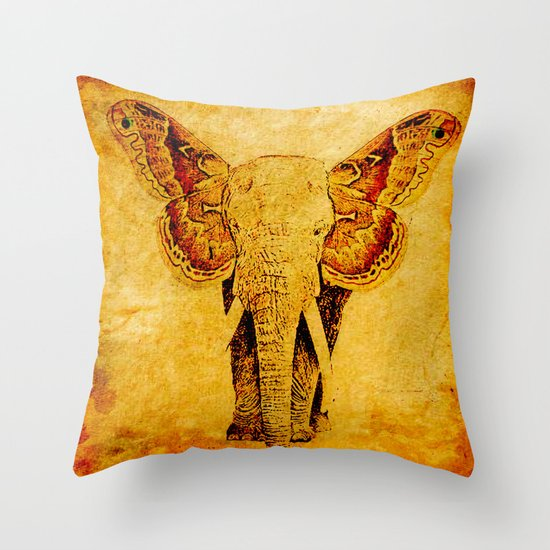The elephant who wanted to be a butterfly Throw Pillow