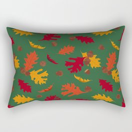 Fall Leaves and Acorns on Green Rectangular Pillow