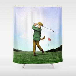 Sir Terrance Terrier Golfing Shower Curtain