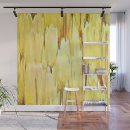 Pale Yellow Tulips Abstract Floral Pattern Wall Mural