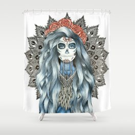 Day of the Dead Woman Mandala Shower Curtain